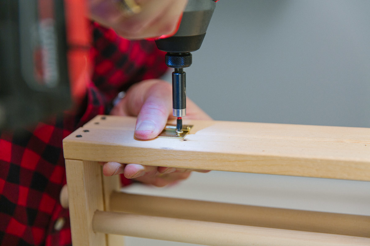 drill screws to mount hinges