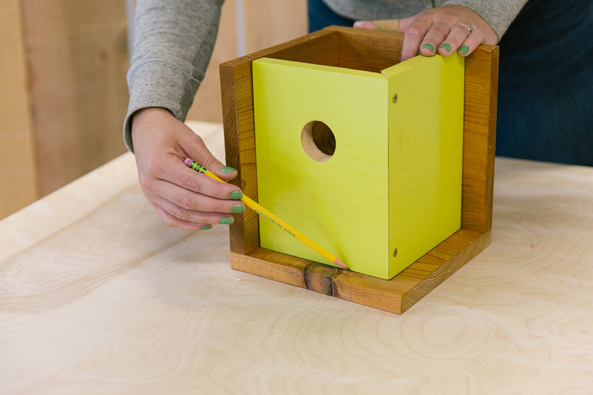 Attach inner and outer walls of birdhouse
