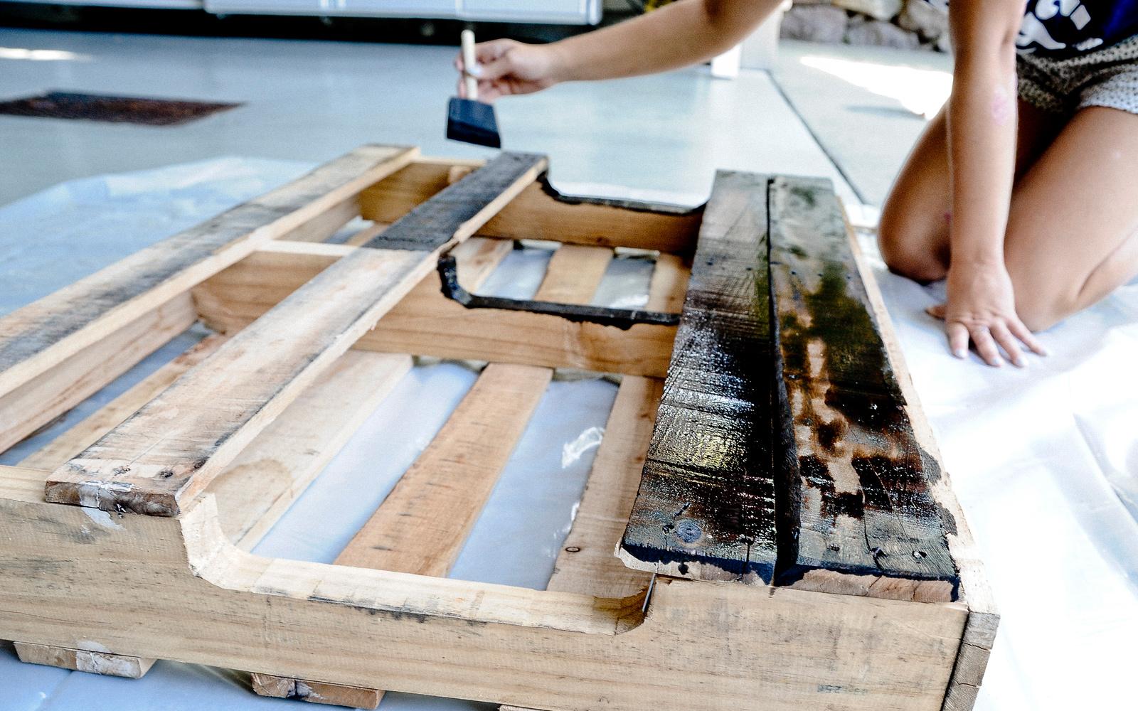 staining coat rack diy