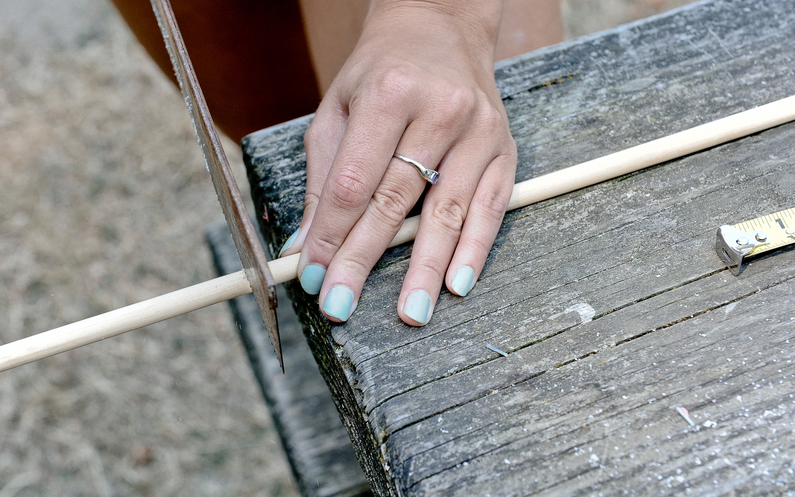 cutting dowel for bow and arrow