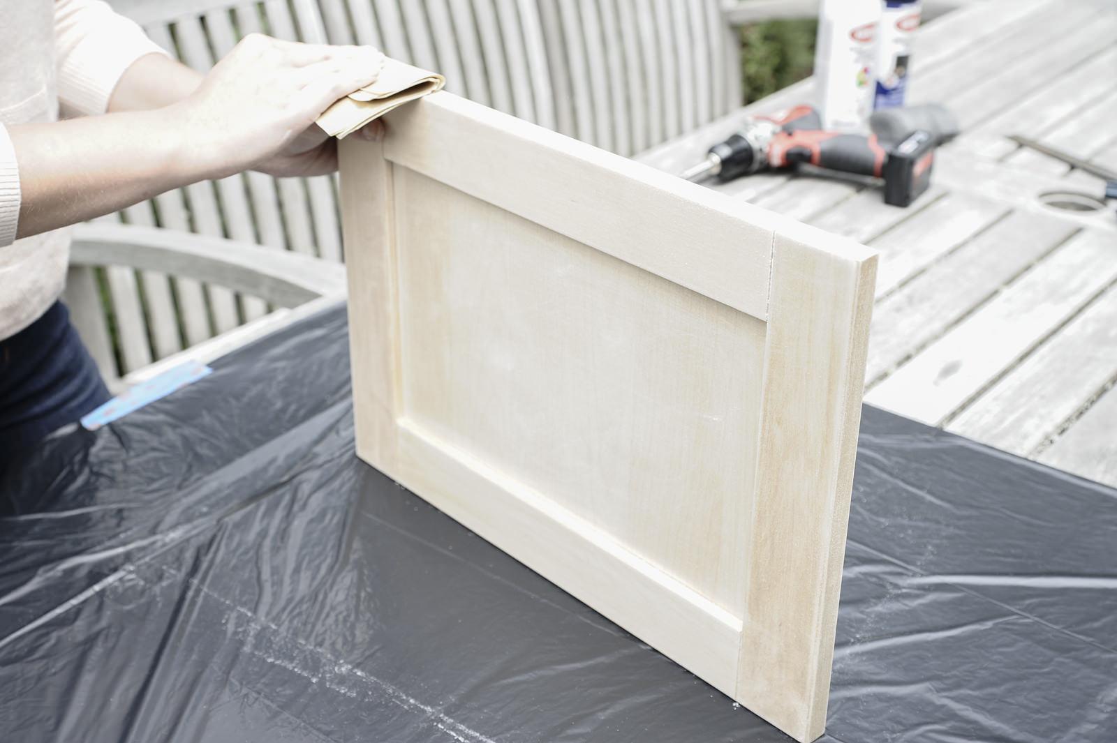 sanding chalkboard tray