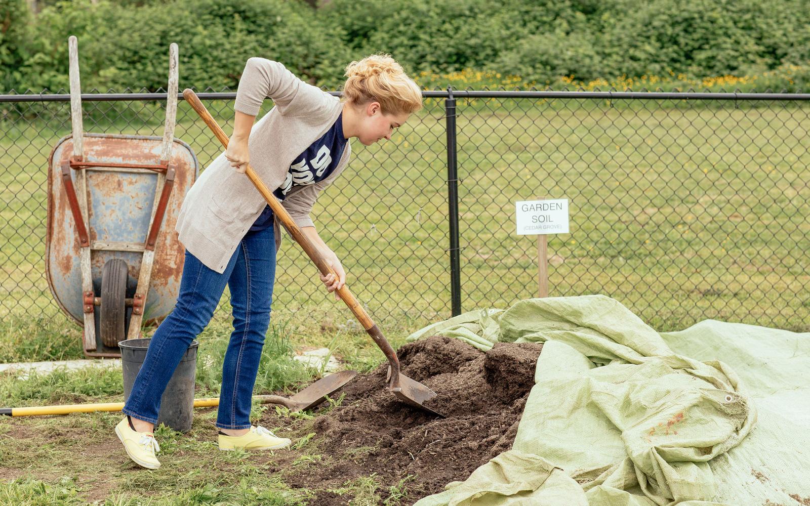 digging in community garden
