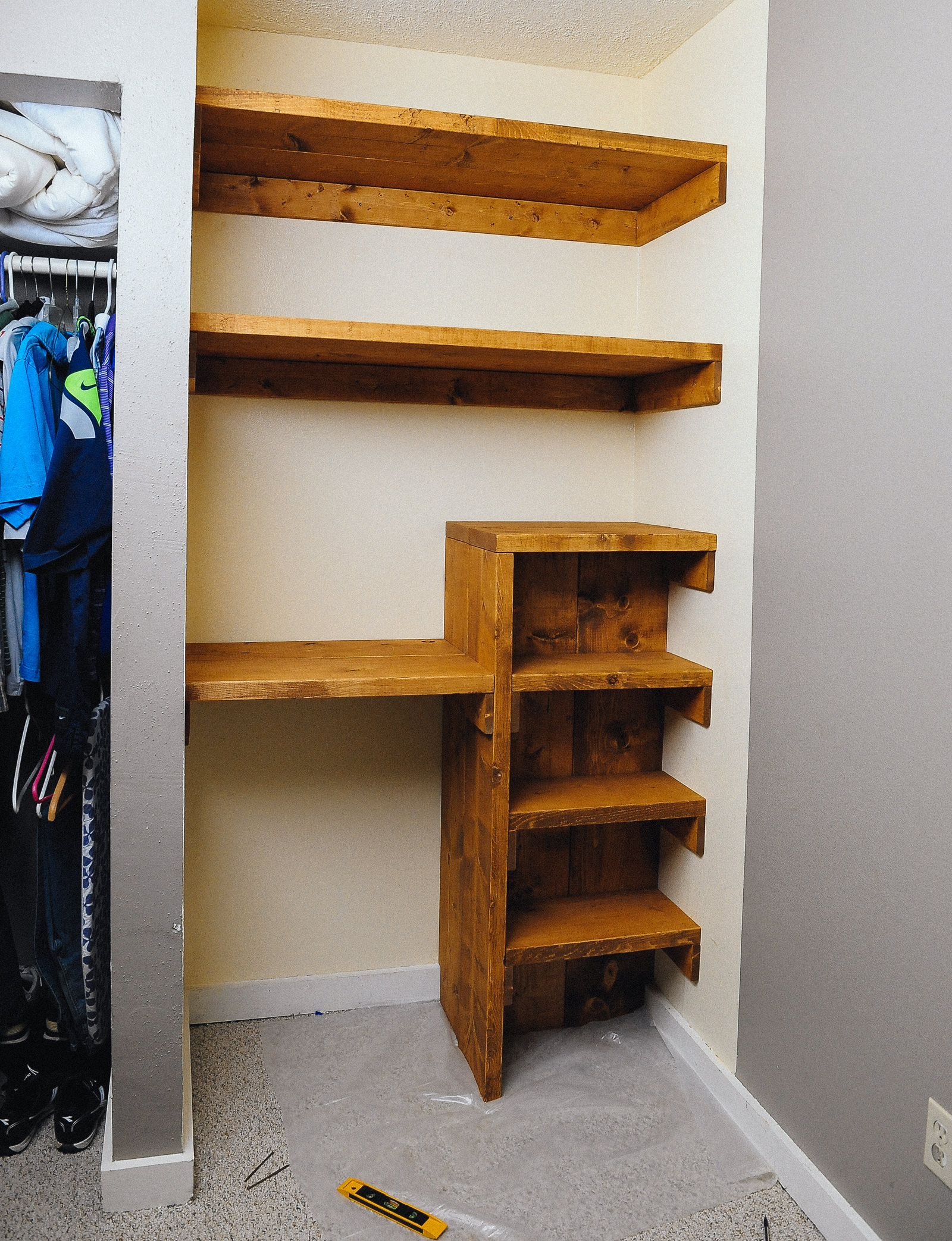diy office shelves. Closet Makeover With Shelves And Desk Diy Office