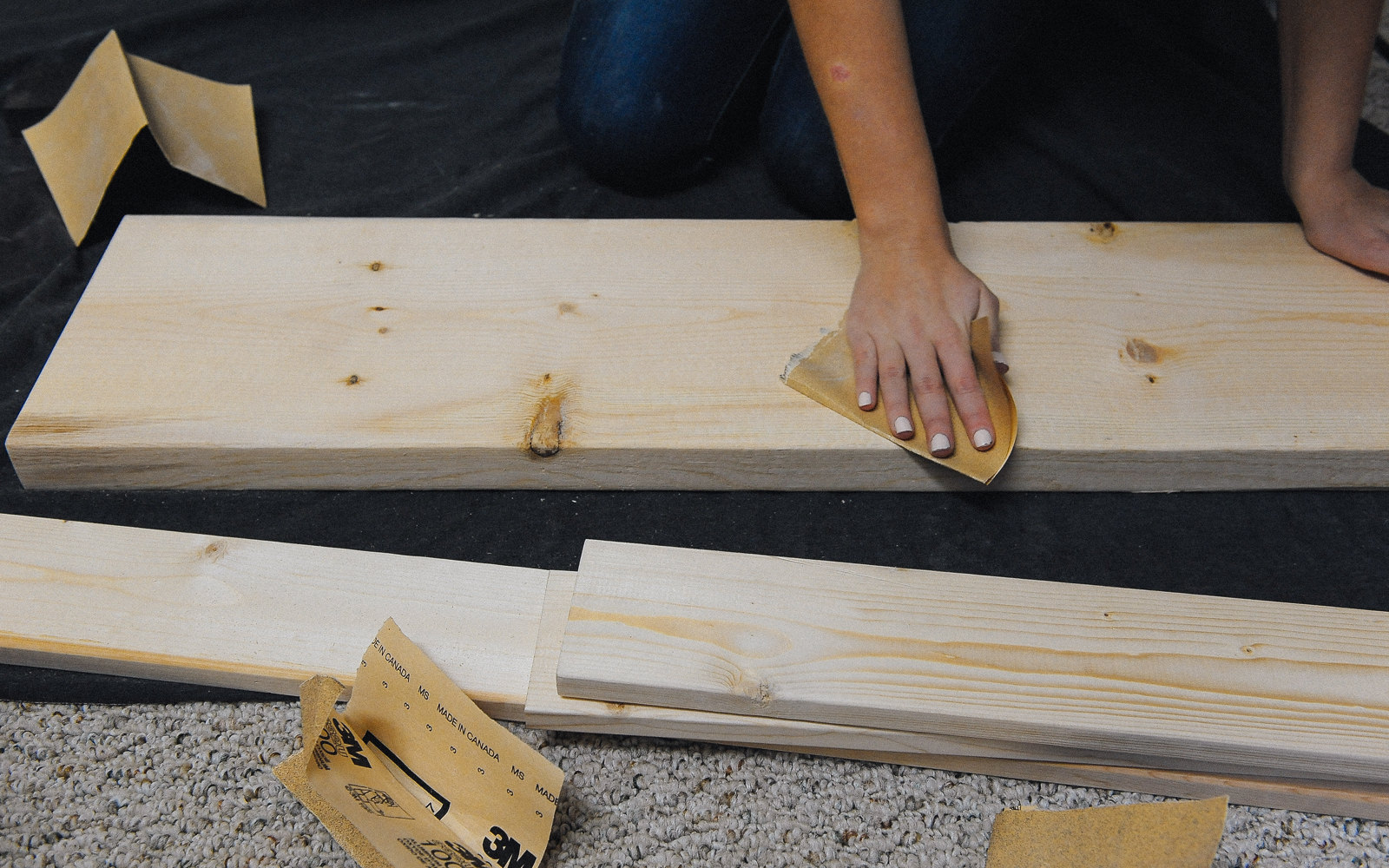 sanding wood for closet makeover