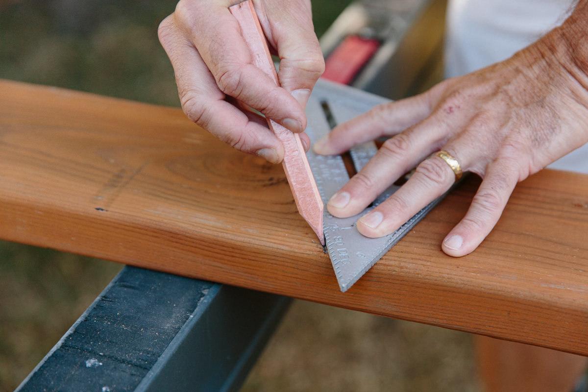 cut lumber for swing set