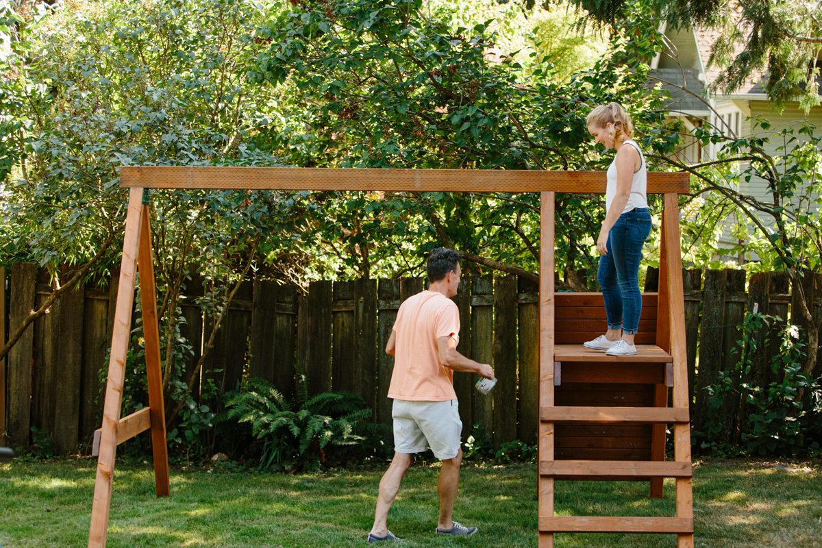 complete swing set frame