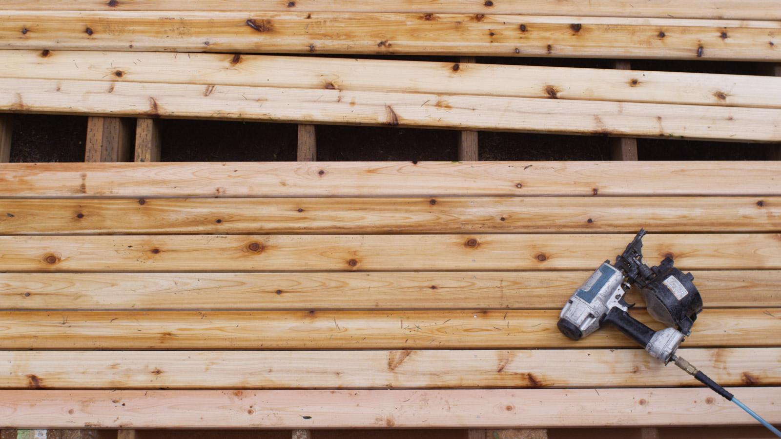natural wood deck