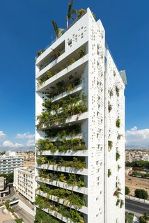 As with many of Nouvel's designs, Cyprus Tower, a high-rise building located in the center of Nicosia, is ready-made with sprouts of greenery. Landscaping covers 80 percent of the building's southern facade.