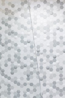 "A closer look at the raised texture in the ""bubble-hex"" Clayhaus tile."