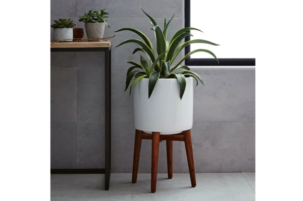 Mid-Century Turned Leg Standing Planters from West Elm