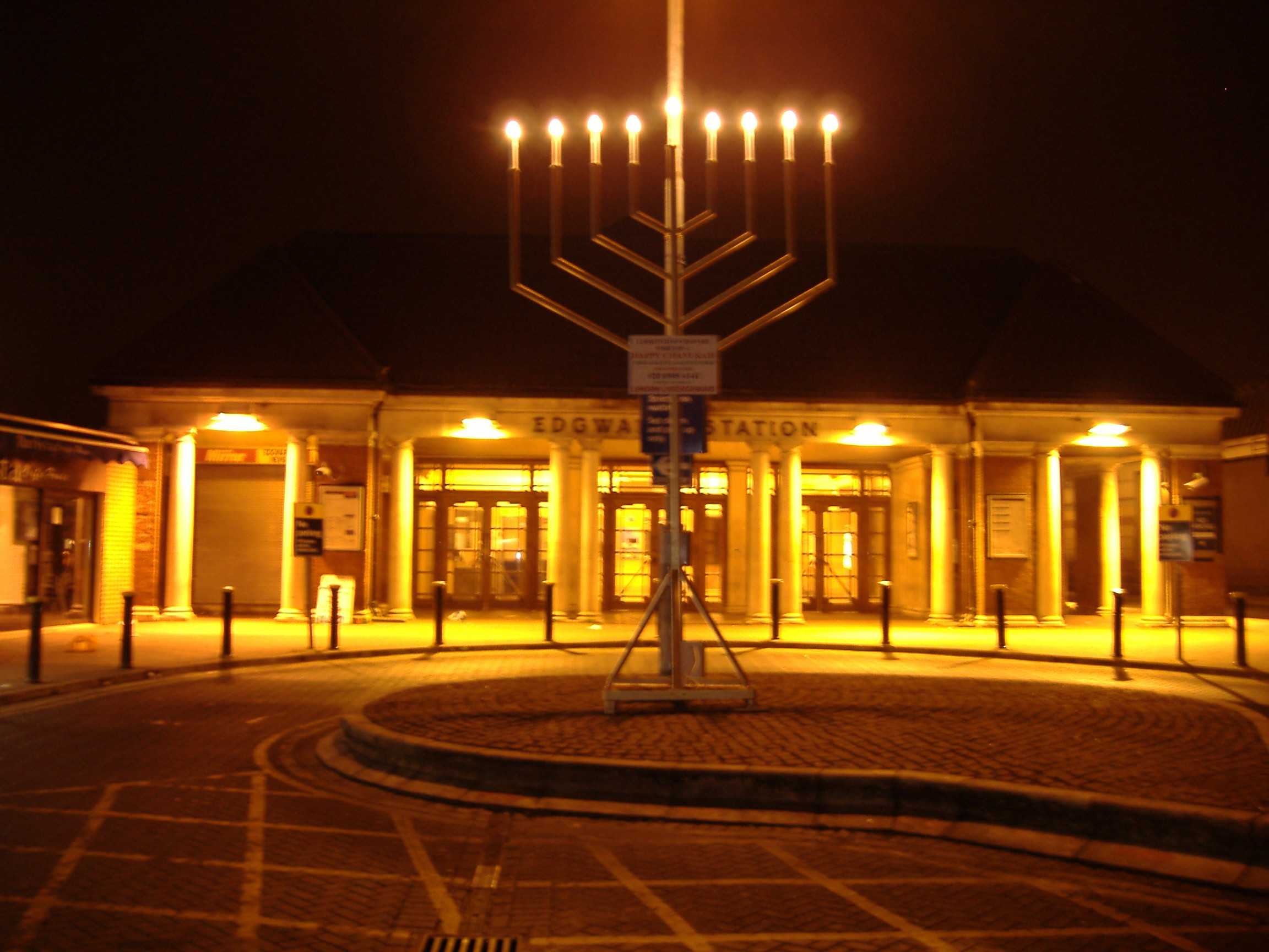 Menorah in Edgware, north of Hendon