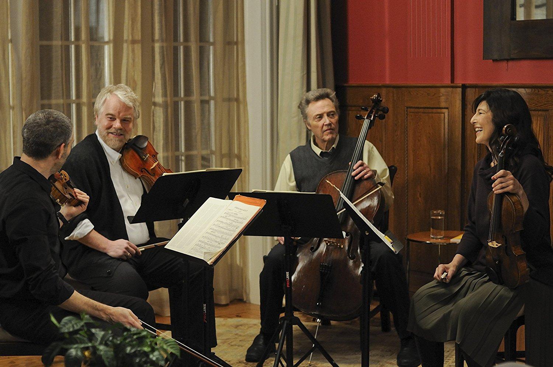 Mark Ivanir, Philip Seymour Hoffman, Christopher Walken, and Catherine Keener in <em>A Late Quartet</em>