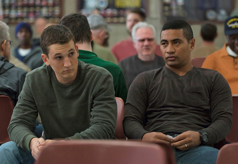 Miles Teller and Beulah Koale in <em>Thank You For Your Service</em>