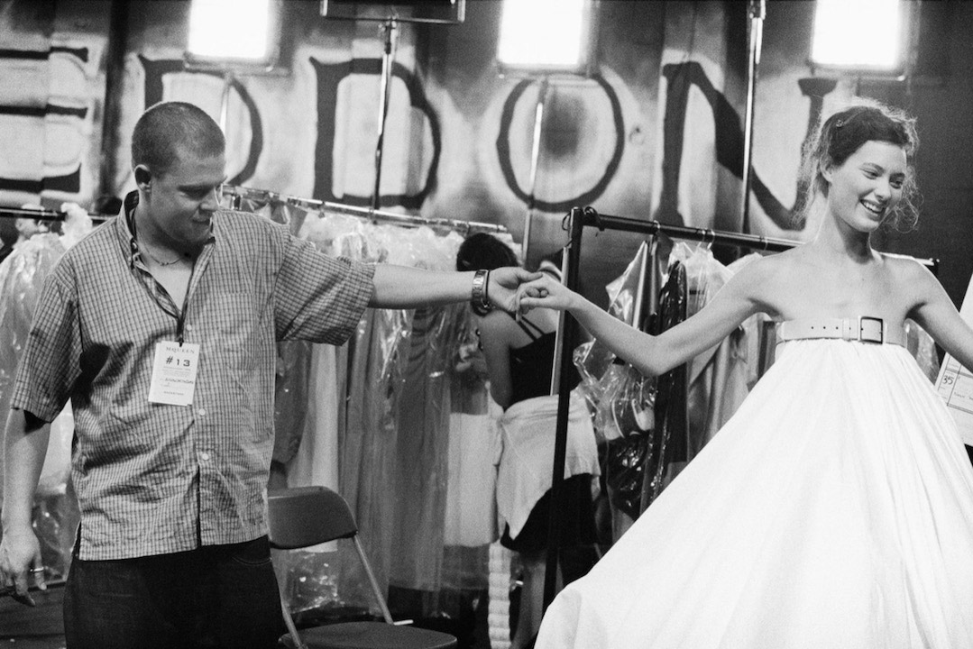 "Alexander McQueen and Shalom Harlow prepare for ""No. 13"""