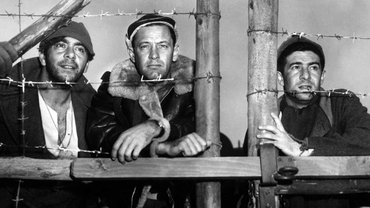 Robert Strauss, William Holden, and Harvey Lembeck in <em>Stalag 17</em>