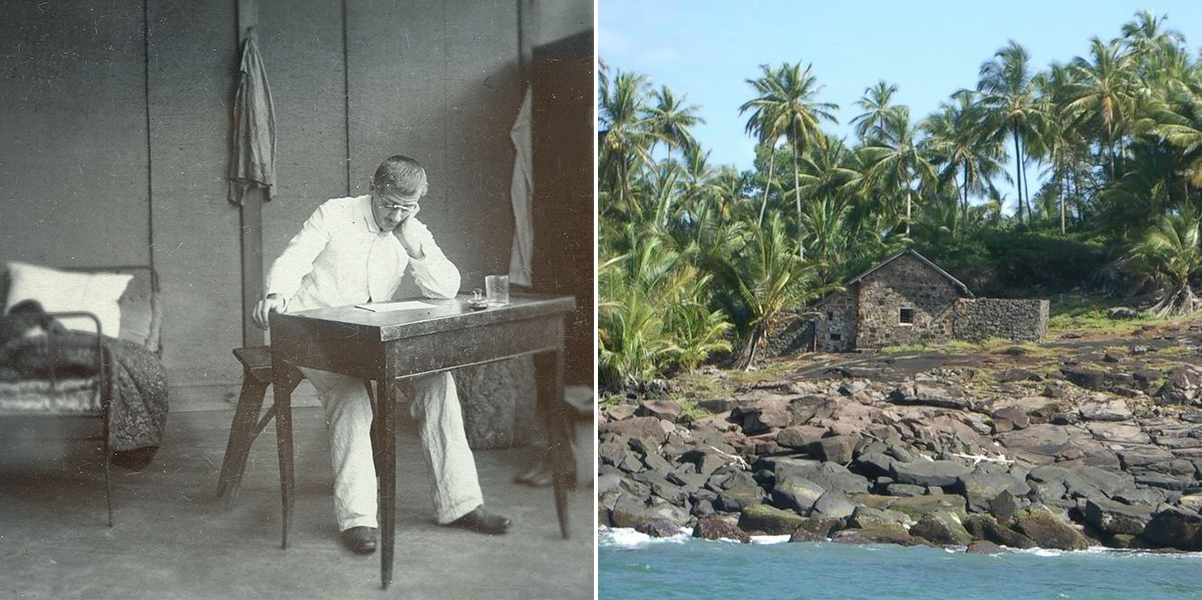 Alfred Dreyfus in his room on Île du Diable (left) and his hut (right)