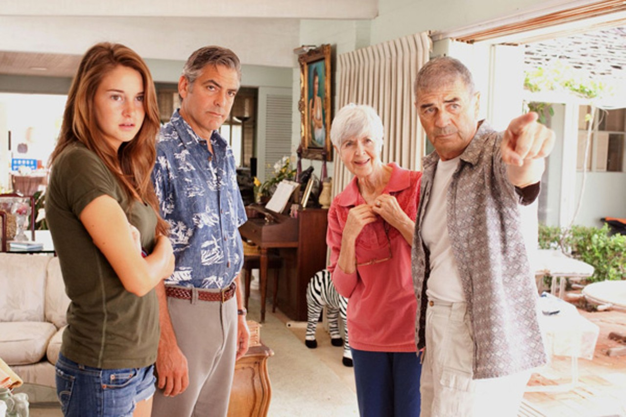 Shailene Woodley, George Clooney, Barbara L. Southern, and Robert Forster star in <em>The Descendants</em>