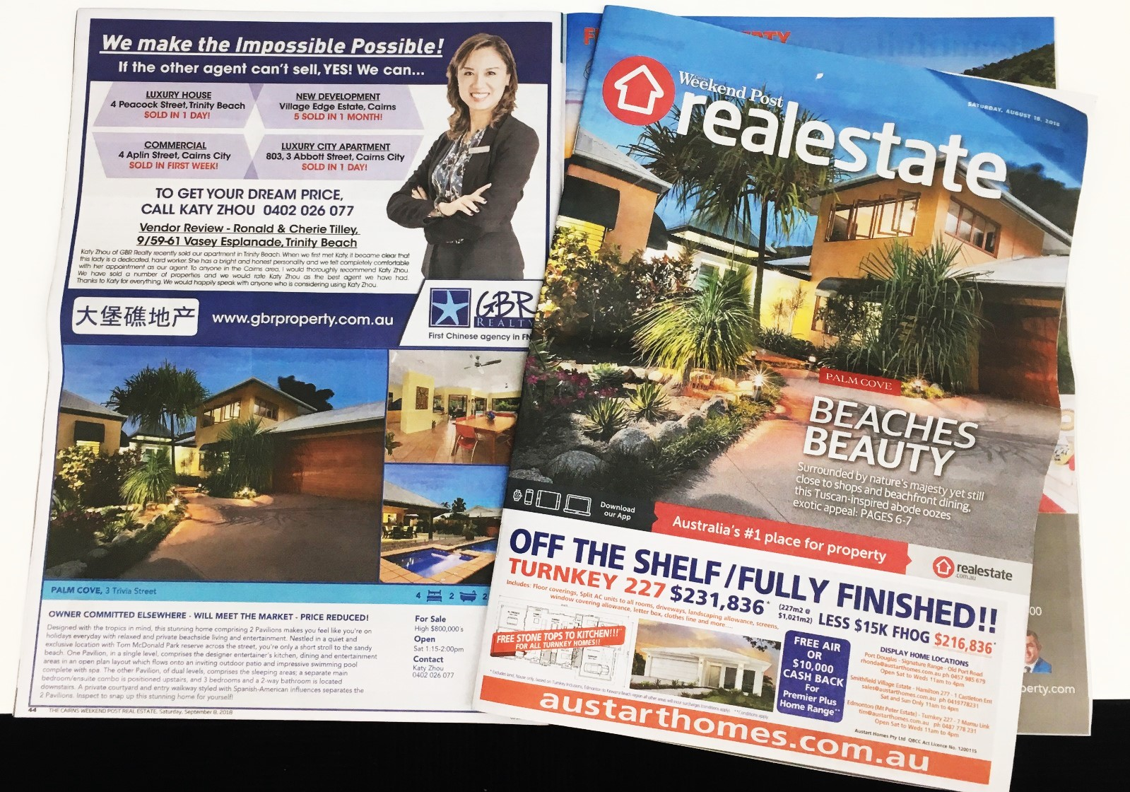 We have been on the front page of The Cairns Post Realtor marketing a prestige home in Palm Cove as well as showcasing the recent sales we have done for our clients