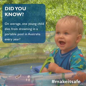 On average, one young child dies from drowning in a portable pool in Australia every year?