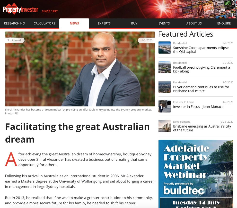 Shiral Alexander has become a 'dream maker' by providing an affordable entry point into the Sydney property market.