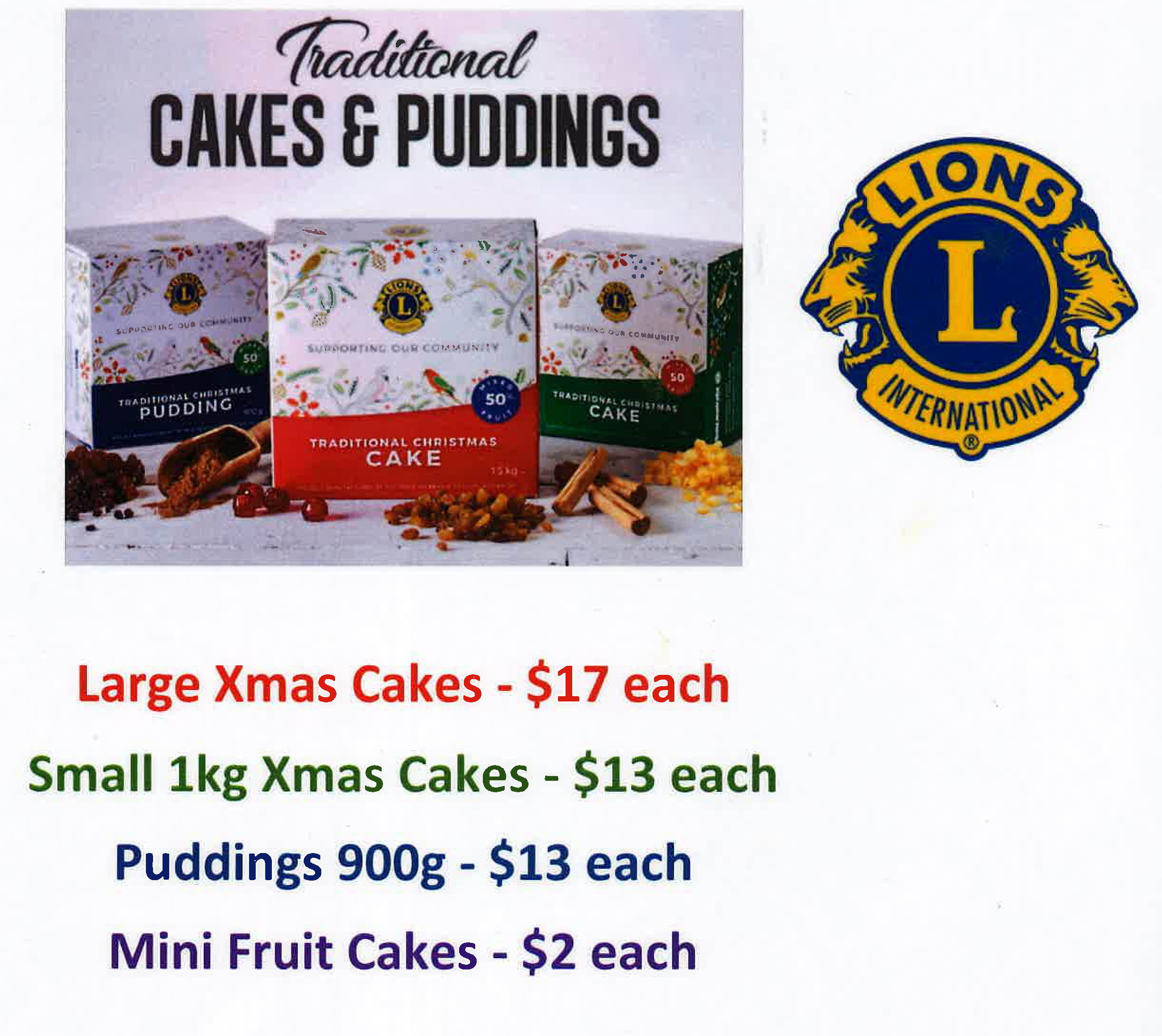 Lions Christmas Cakes and Pudding.