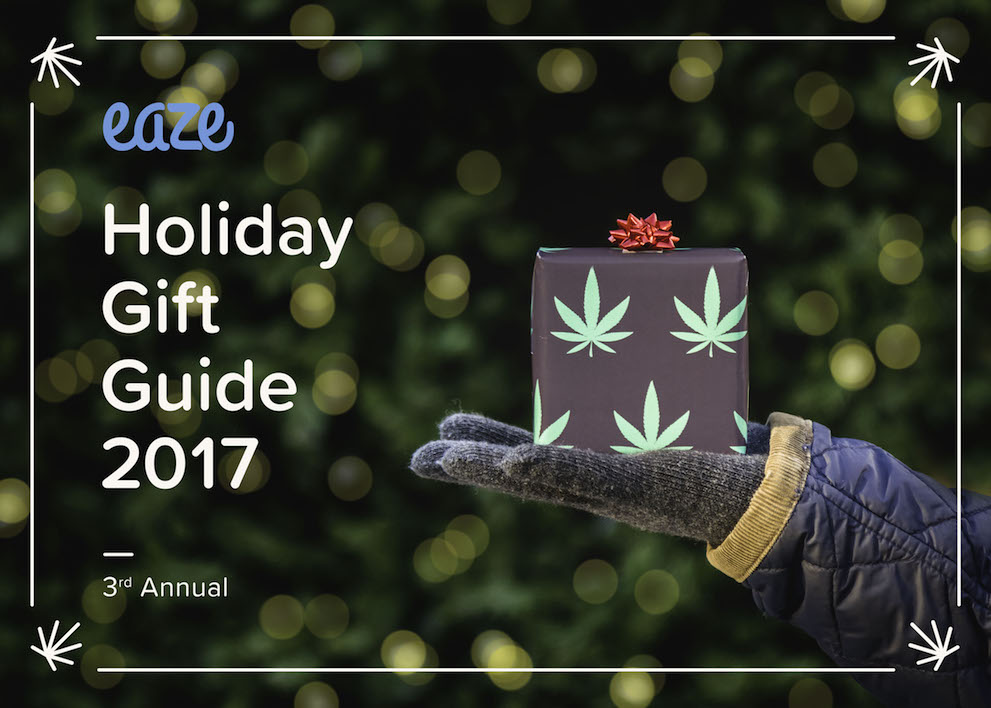 Image of a cannabis-themed gift box for Eaze's Holiday Gift Guide.
