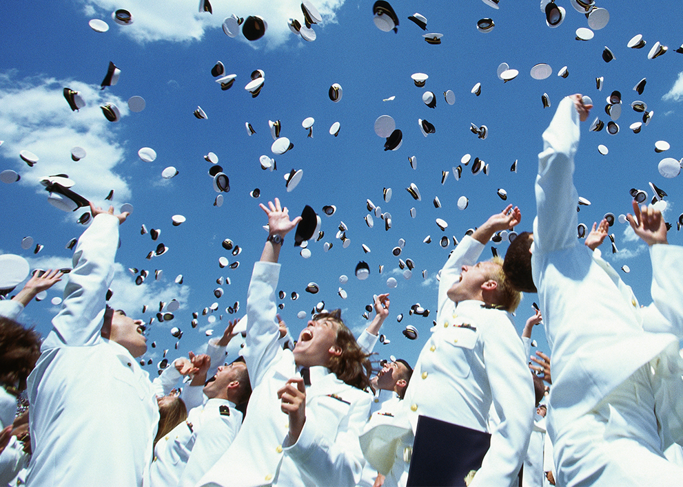 Image of air force graduates celebrating the change in marijuana policy.