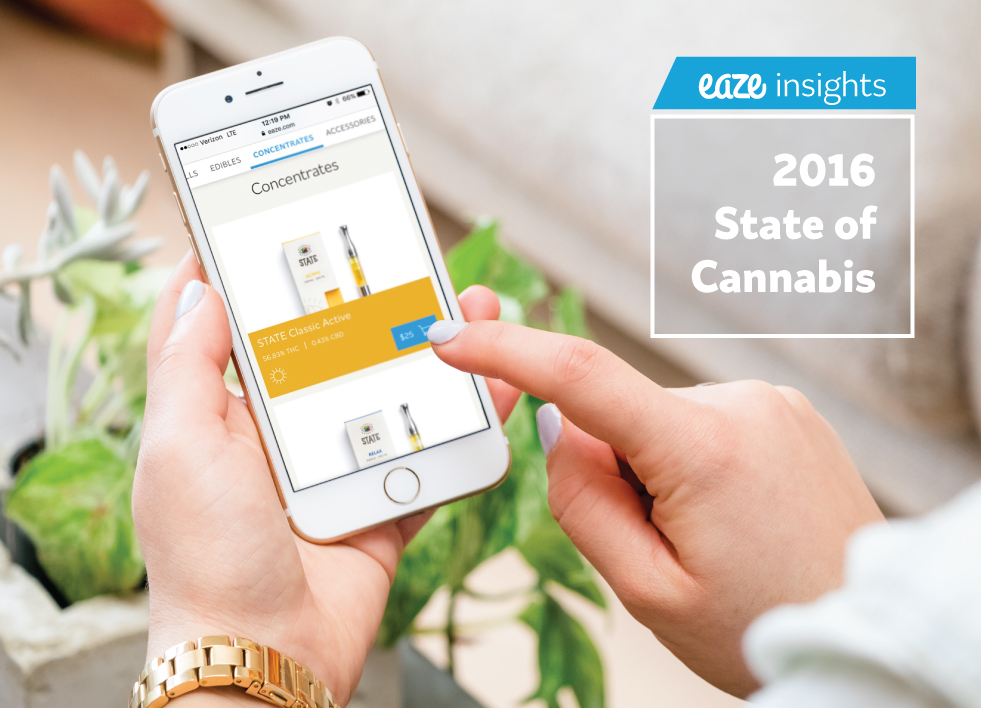 Image of woman on her phone placing an order for a vaporizer cartridge on Eaze.