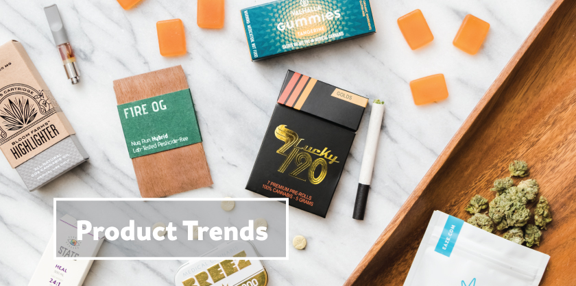 Image of marijuana products available on the Eaze menu for the Product Trends section of the Eaze Insights: State of Cannabis 2016
