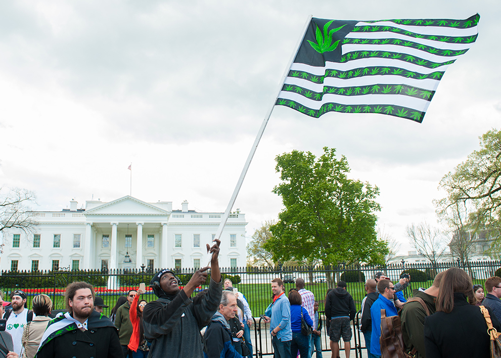 Image of people protesting the Federal governments stance on marijuana in front of the White House.