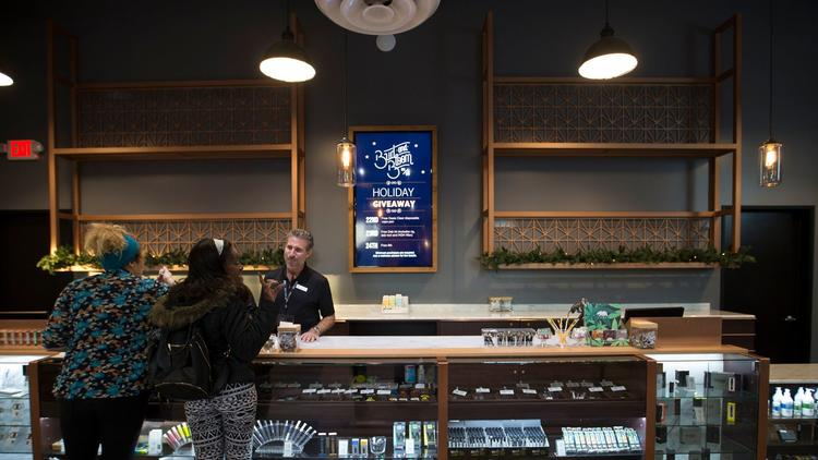 Bud & Bloom, a dispensary in Santa Ana, CA, is one of many businesses in the marijuana industry that a federal crackdown could affect.