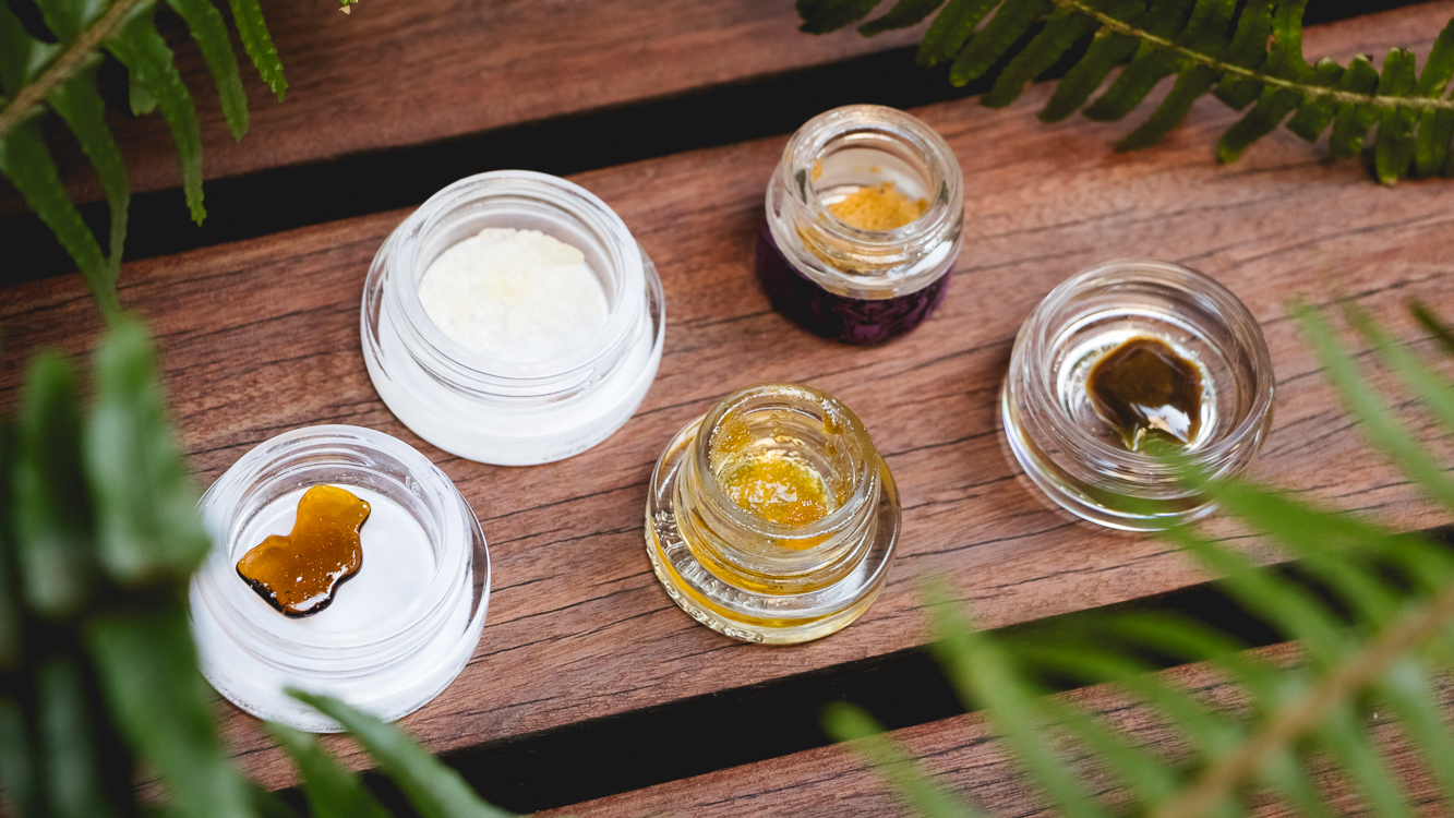 spread of five types of marijuana concentrates