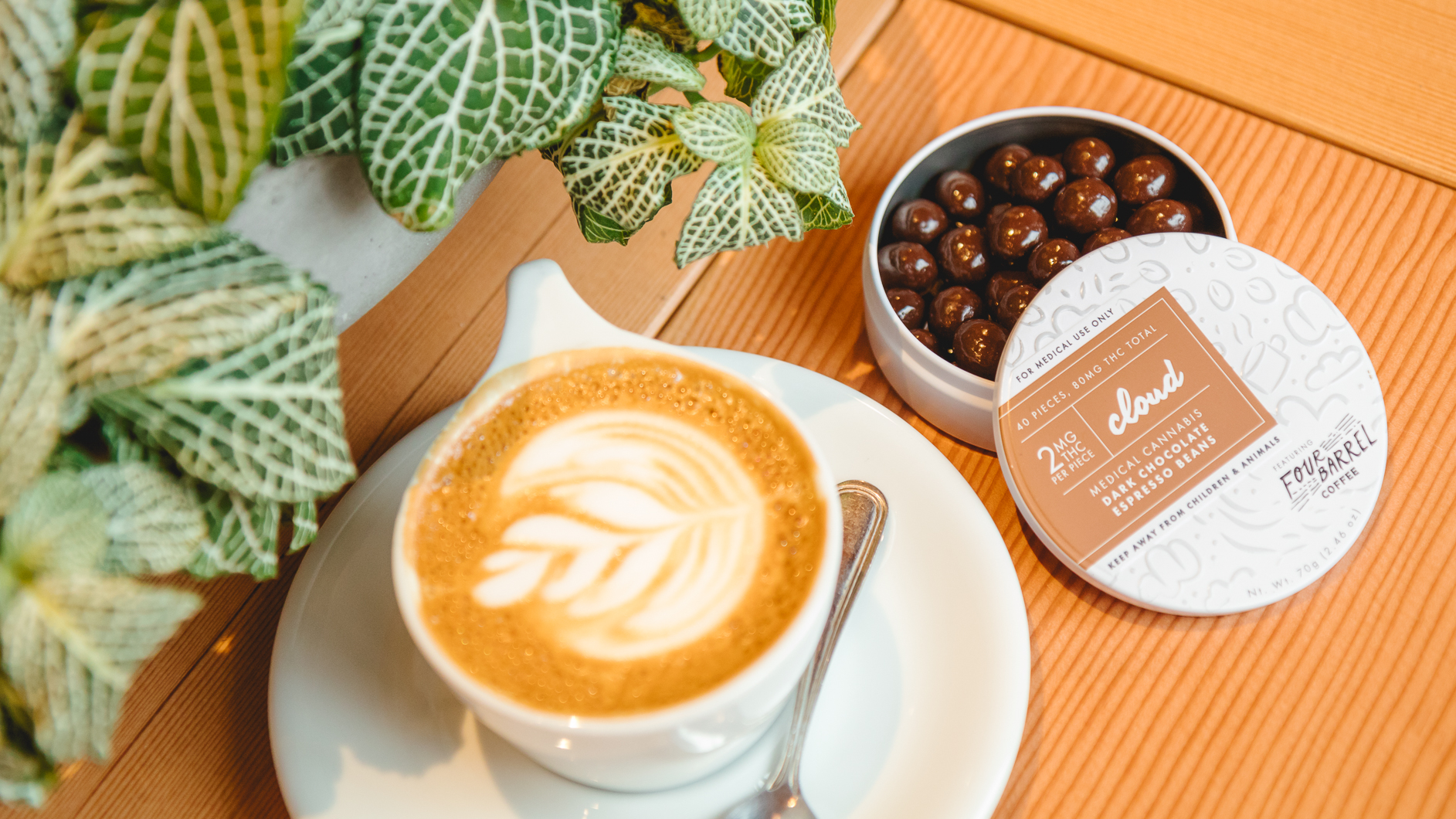 Image of Cloud Confection's Chocolate Espresso Beans with a cup of latte.