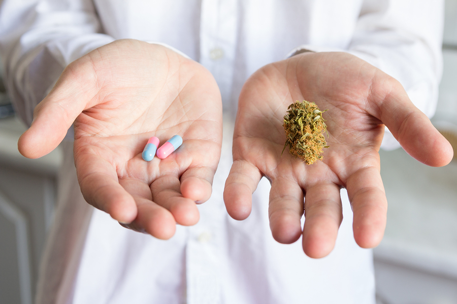 Image of a nugget of marijuana in one hand and pills in the other