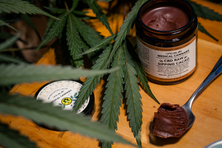 Image of Om Edibles Raw Sipping Cacao for a cannabis-infused treat