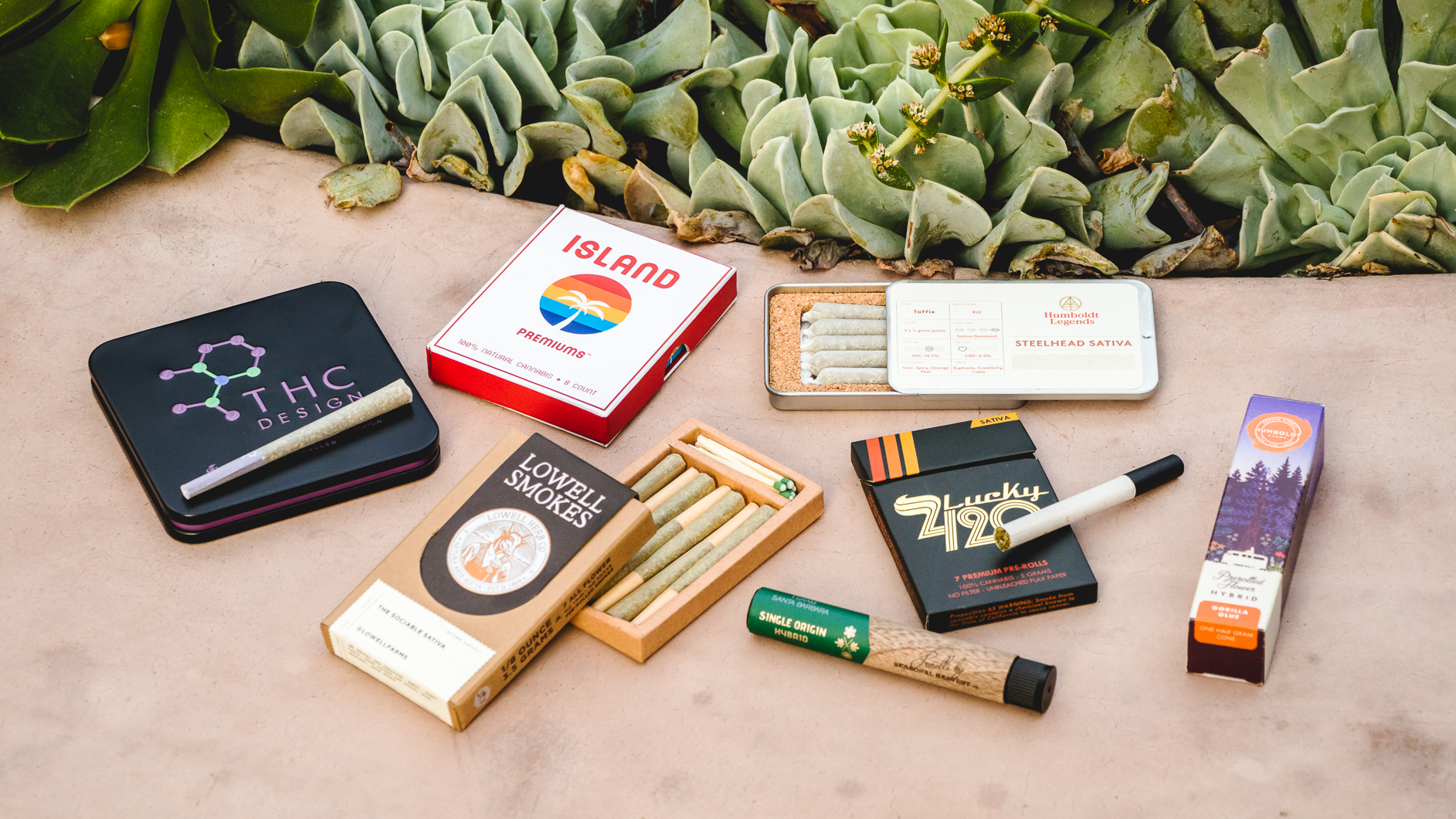 Image of a preroll spread that includes various brands, types and strains