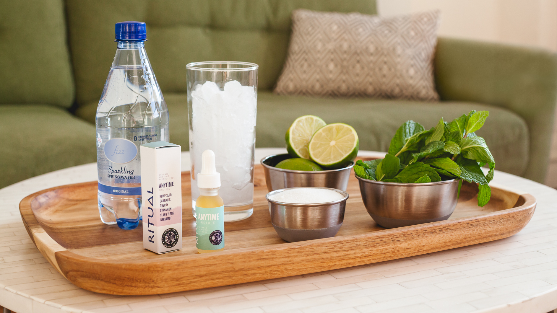Image of all the ingredients to make an alcohol-free cannabis mojitos