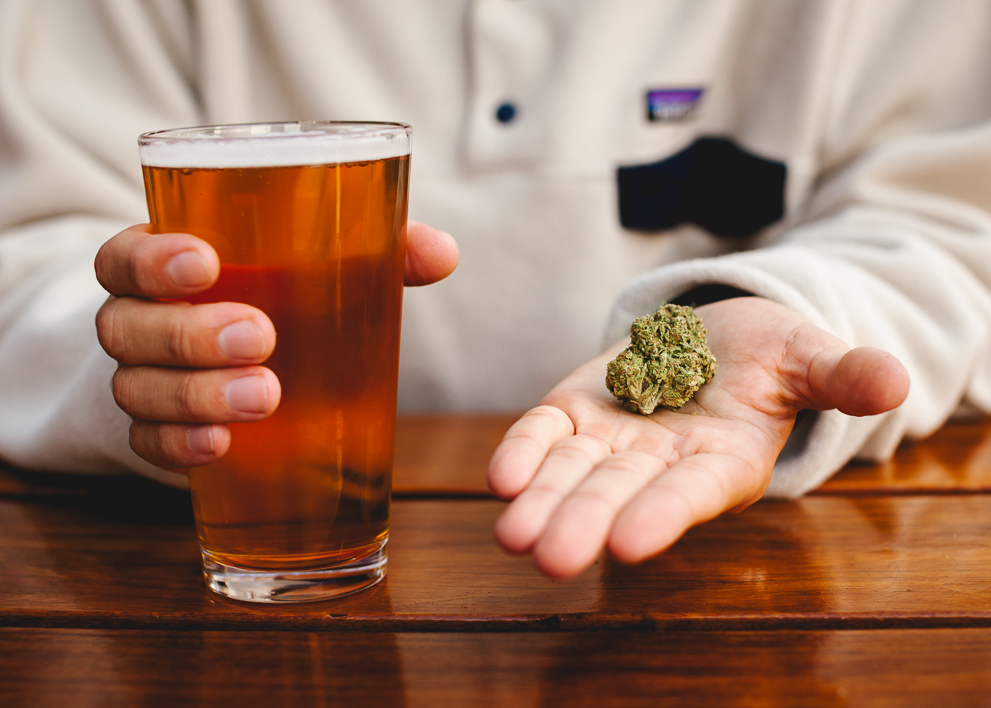 Image comparing a beer with a nugget of marijuana
