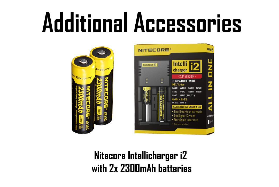 Flashlight w//2x NL1835HP Batteries Nitecore EC4GTS 1800Lm Search D2 Charger