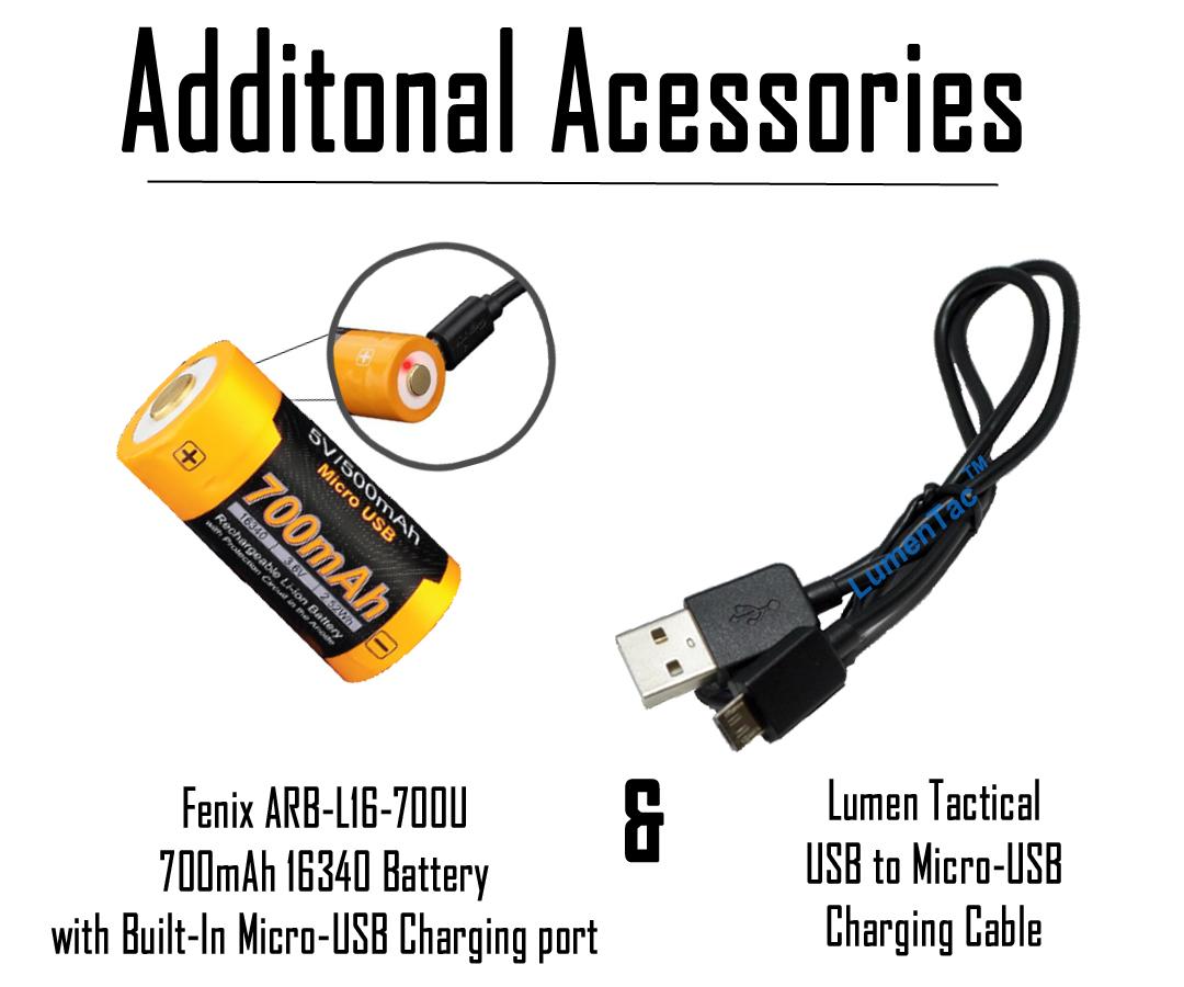2 piles rechargeables /& Câble De Charge Fenix E16 700 lm Keychain Lampe de poche