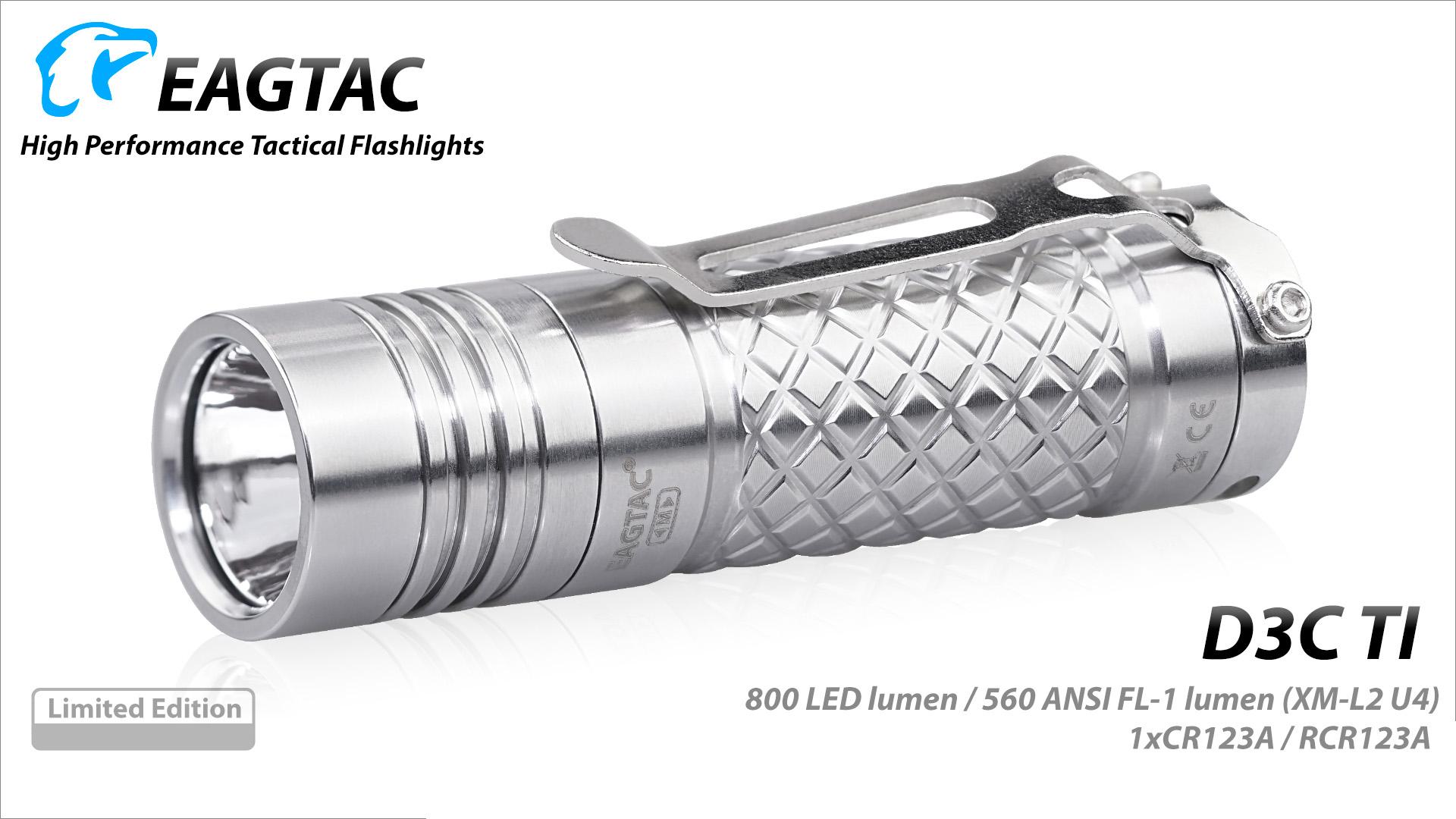 Upgrade of D2 Eagletac D3C Clicky Titanium XP-L HI V3 680 Lumen EDC Flashlight