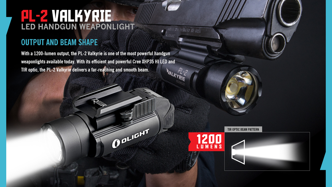 Olight PL-2 Valkyrie 1200 lm pistolet lumière avec 2 XRCR 123 Piles et chargeur