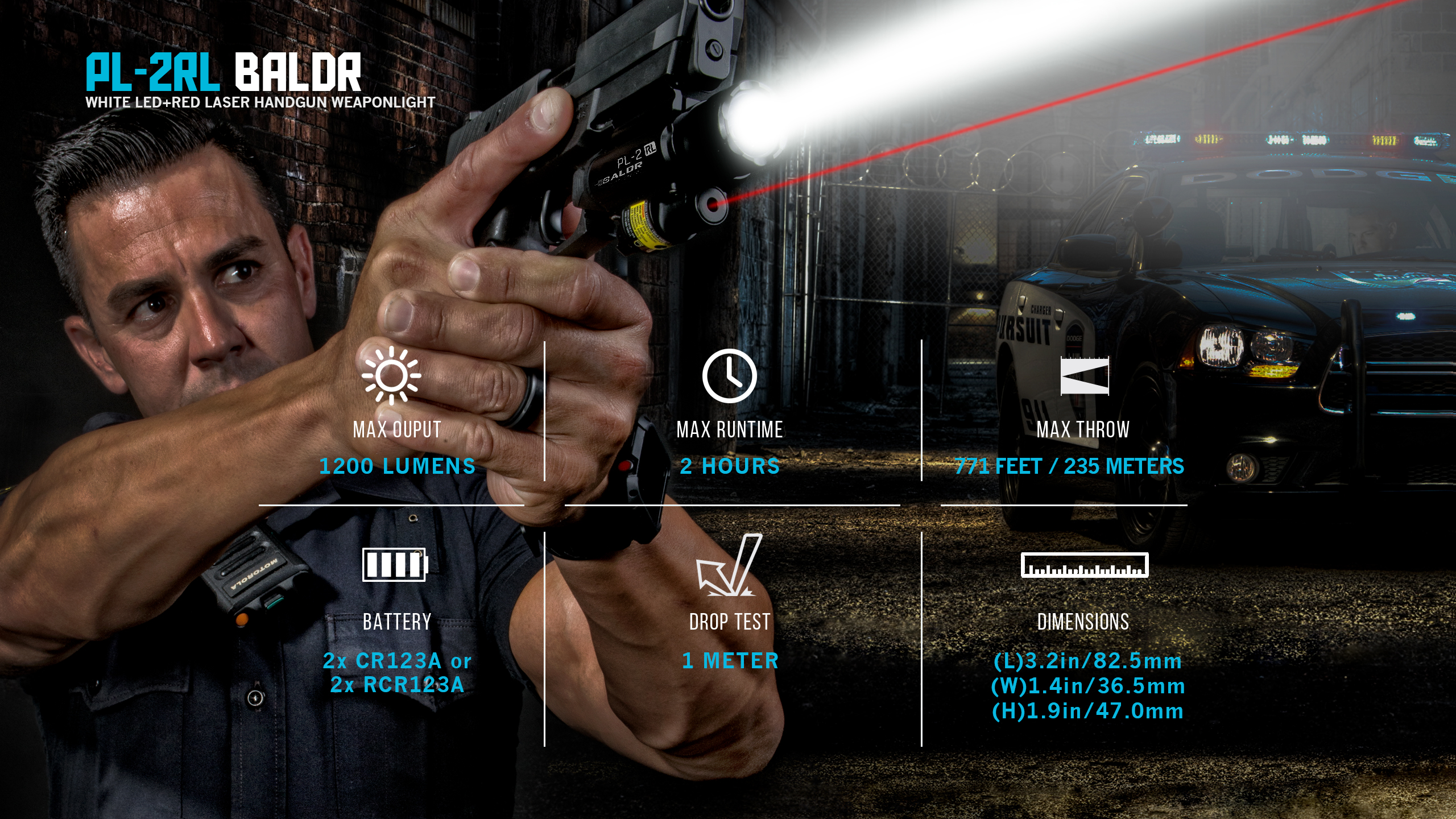 Olight PL-2RL Baldr Weaponlight + rot rot rot Laser with 4x Batteries and Charger f2e5a6
