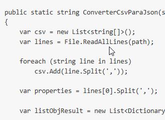 Convertendo arquivo CSV em objeto Json