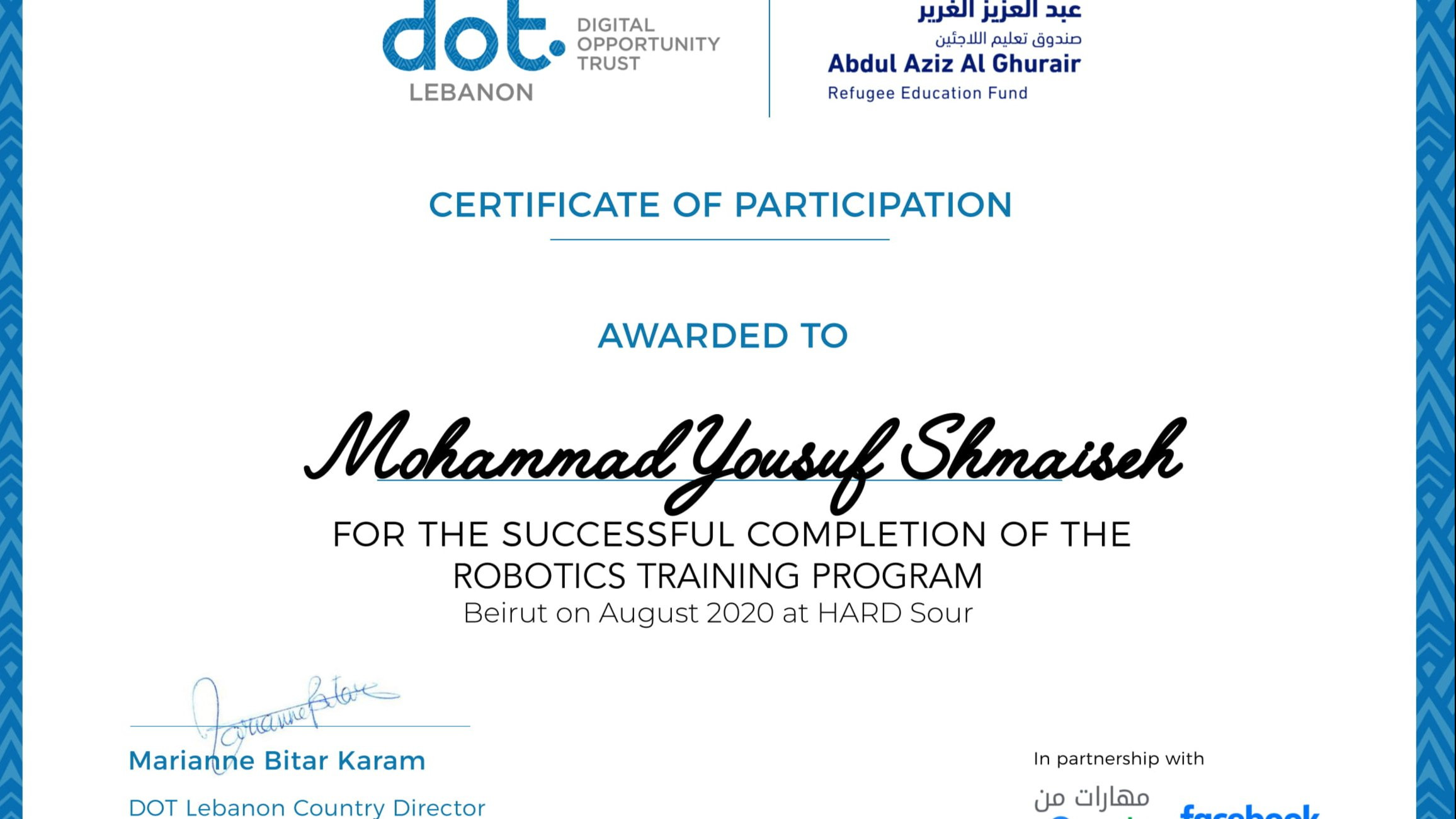 Robotics Training Program Certification