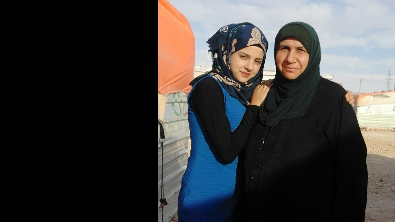 With my mother at Zaatari