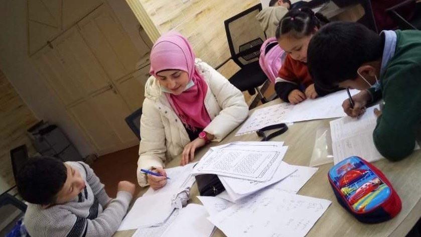 Volunteering with children at Al-Farough Center