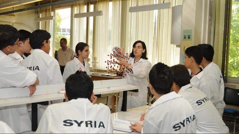With the Olympiad Team at the Higher Institution of Applied Sciences and Technology in Damascus.