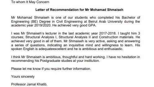 Recommendation Letter from Professor Jamal Khatib