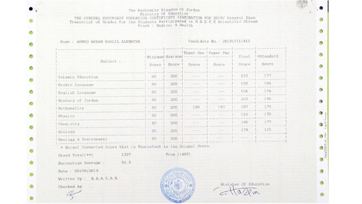 The secondary education certificate with GPA 94.4%